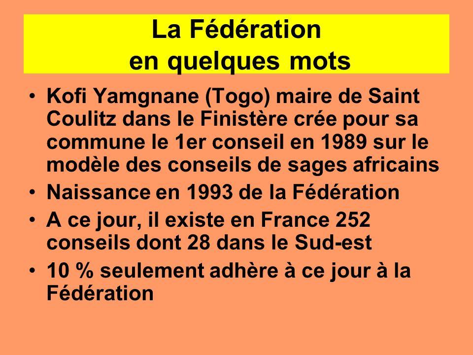 La Fédération en quelques mots Kofi Yamgnane (Togo) maire de Saint Coulitz dans le Finistère crée pour sa commune le 1er conseil en 1989 sur le modèle
