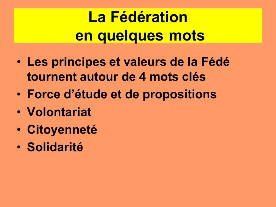 La Fédération en quelques mots Les principes et valeurs de la Fédé tournent autour de 4 mots clés Force détude et de propositions Volontariat Citoyenn