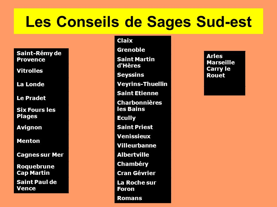 Les Conseils de Sages Sud-est Saint-Rémy de Provence Vitrolles La Londe Le Pradet Six Fours les Plages Avignon Menton Cagnes sur Mer Roquebrune Cap Ma