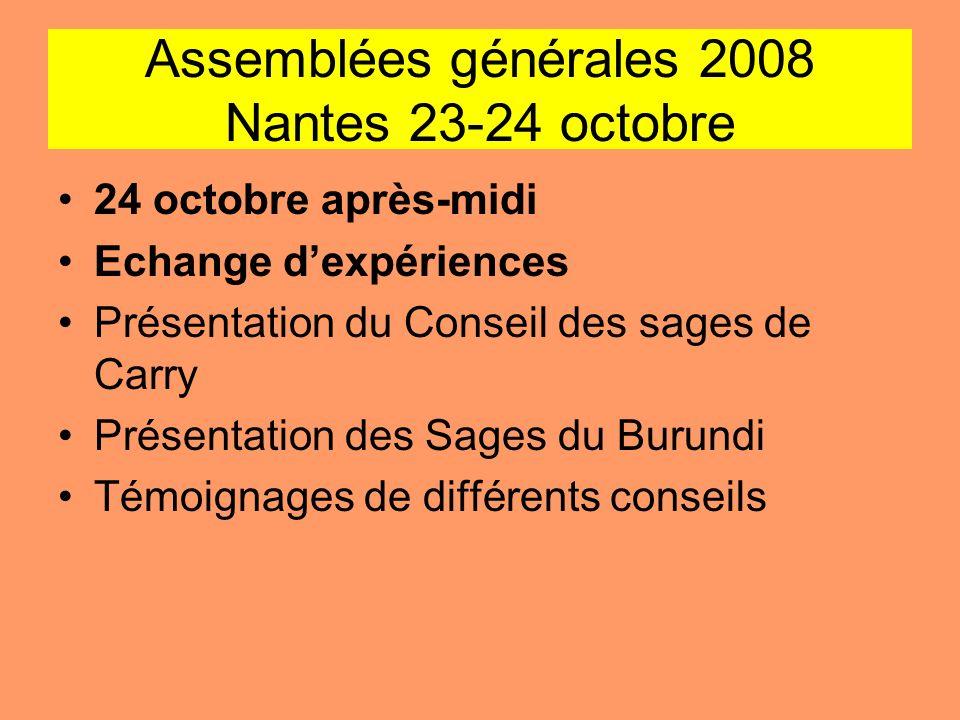 Assemblées générales 2008 Nantes 23-24 octobre 24 octobre après-midi Echange dexpériences Présentation du Conseil des sages de Carry Présentation des