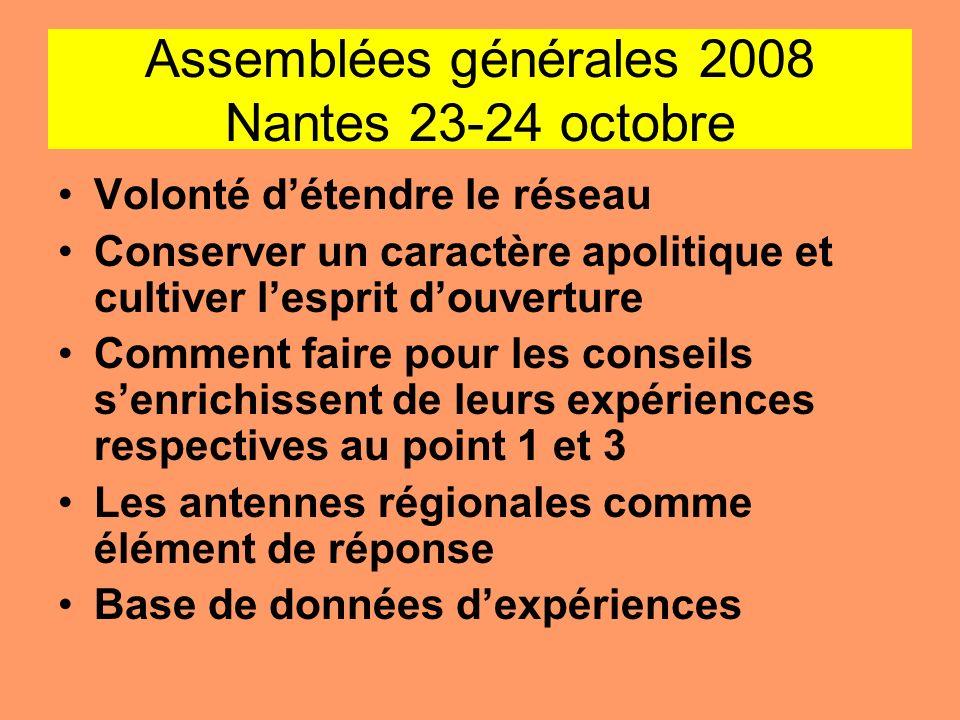Assemblées générales 2008 Nantes 23-24 octobre Volonté détendre le réseau Conserver un caractère apolitique et cultiver lesprit douverture Comment fai