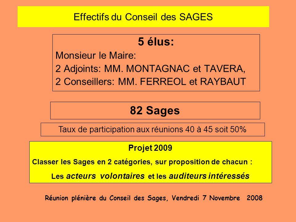 Effectifs du Conseil des SAGES 5 élus: Monsieur le Maire: 2 Adjoints: MM. MONTAGNAC et TAVERA, 2 Conseillers: MM. FERREOL et RAYBAUT Réunion plénière