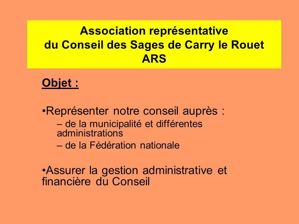 Association représentative du Conseil des Sages de Carry le Rouet ARS Objet : Représenter notre conseil auprès : – de la municipalité et différentes a