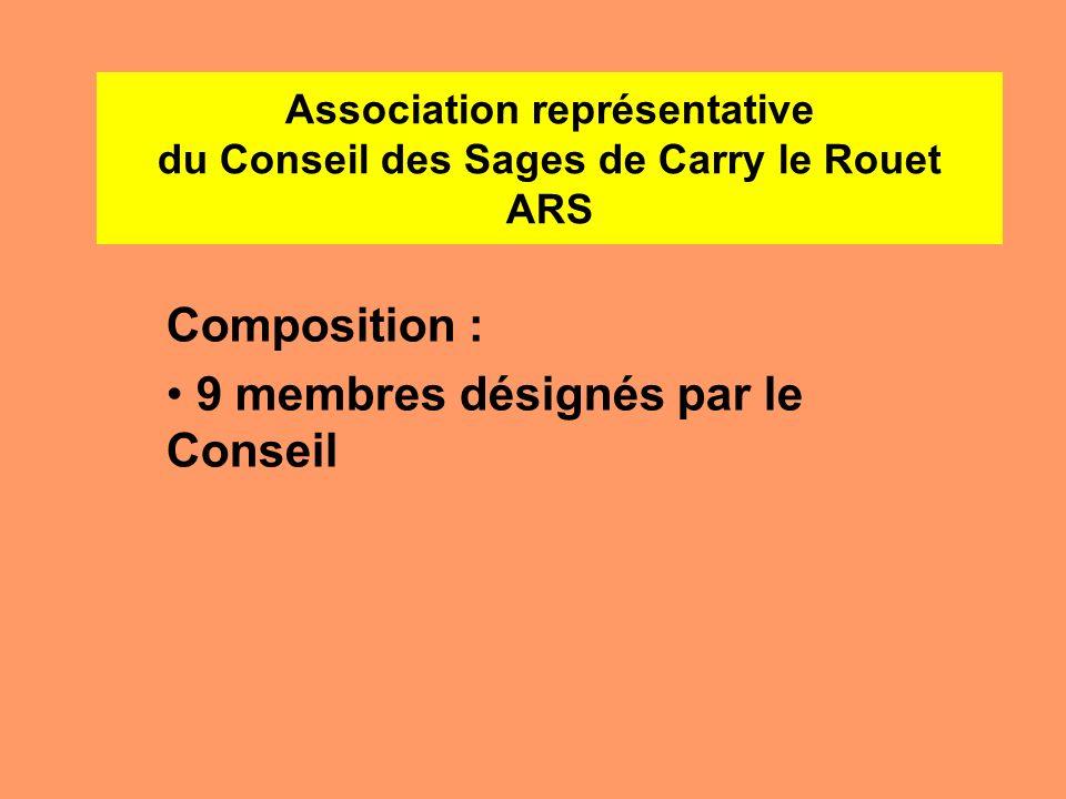 Association représentative du Conseil des Sages de Carry le Rouet ARS Composition : 9 membres désignés par le Conseil
