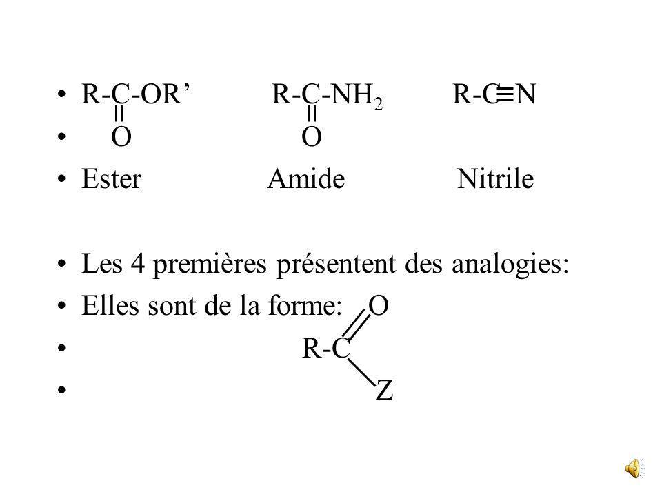 Les dérivés des Acides On considère comme dérivant de la fonction acide carboxylique les cinq fonctions suivantes : R-C-Cl R-C-O-C-R O O O Chlorure an