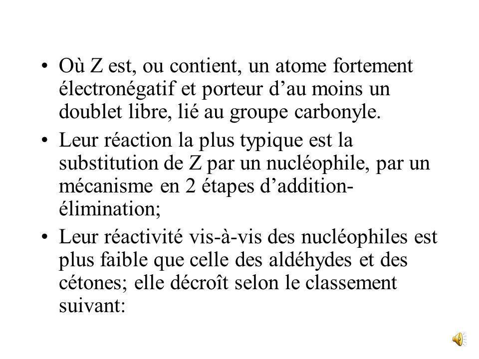 R-C-OR R-C-NH 2 R-C N O O Ester Amide Nitrile Les 4 premières présentent des analogies: Elles sont de la forme: O R-C Z