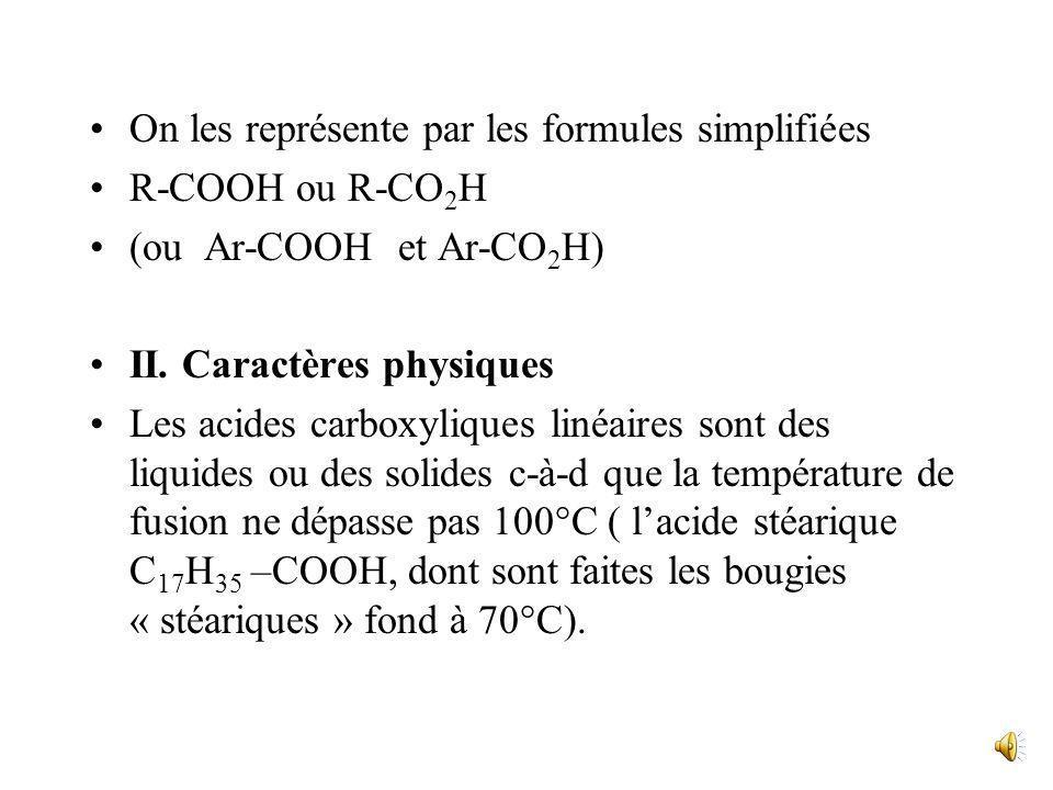 Acides carboxyliques I. Présentation Les acides organiques ou acides carboxyliques ont pour formule générale: R-C-OH ou Ar-C-OH O O Ils doivent leur n