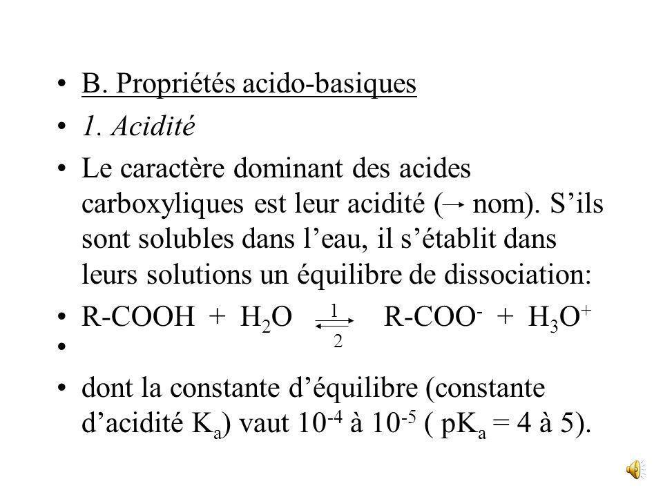 Les deux groupes OH et C=O ne sont pas indépendants dans le groupe COOH. Ils sont en effet engagés dans une structure mésomère ou résonante, dans laqu