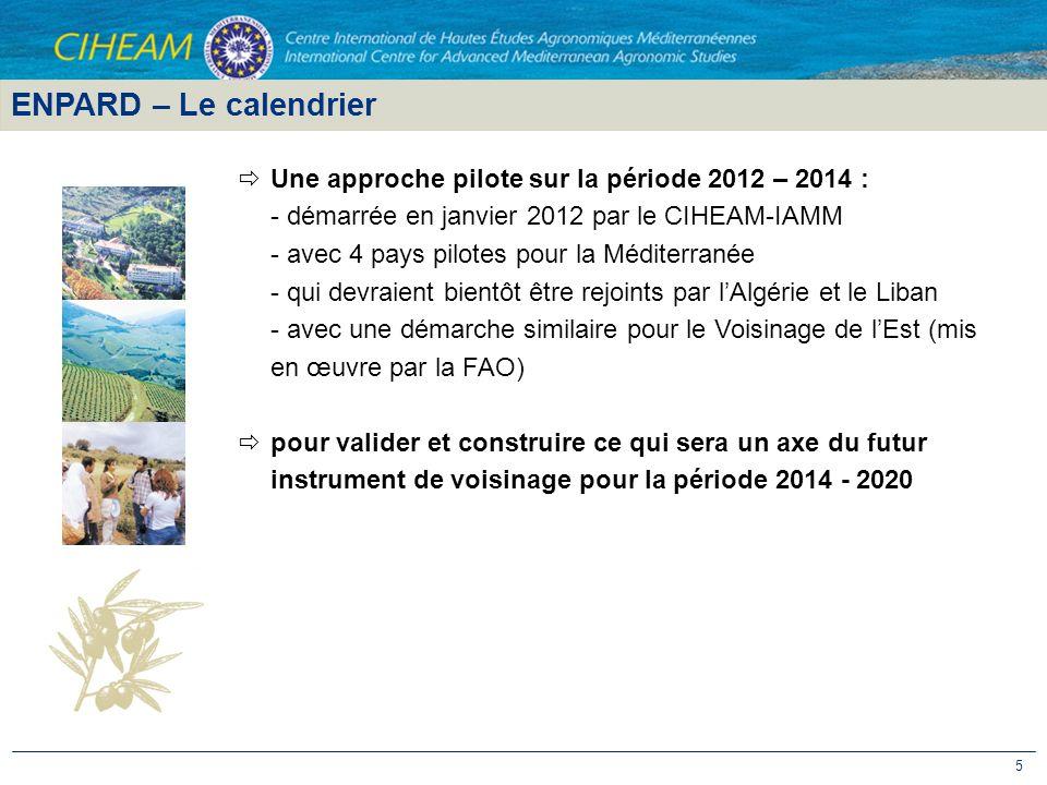 5 Une approche pilote sur la période 2012 – 2014 : - démarrée en janvier 2012 par le CIHEAM-IAMM - avec 4 pays pilotes pour la Méditerranée - qui devr