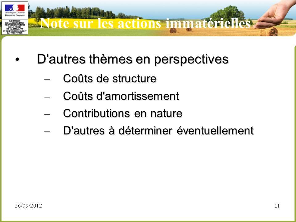 26/09/201211 D'autres thèmes en perspectives D'autres thèmes en perspectives – Coûts de structure – Coûts d'amortissement – Contributions en nature –