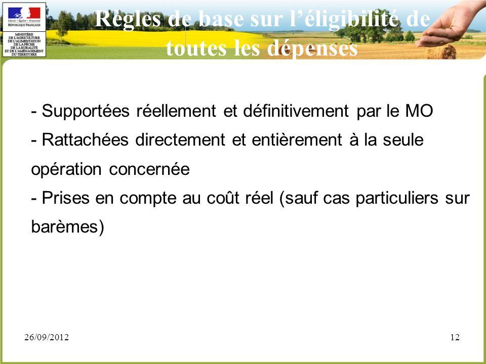 26/09/201212 - Supportées réellement et définitivement par le MO - Rattachées directement et entièrement à la seule opération concernée - Prises en co