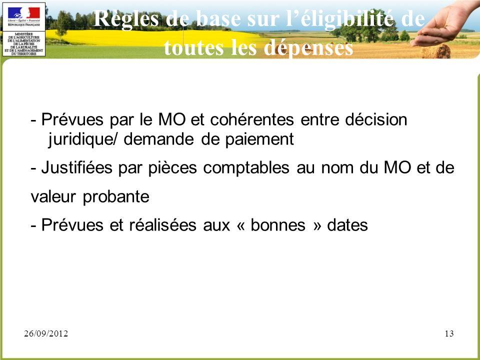 26/09/201213 - Prévues par le MO et cohérentes entre décision juridique/ demande de paiement - Justifiées par pièces comptables au nom du MO et de val