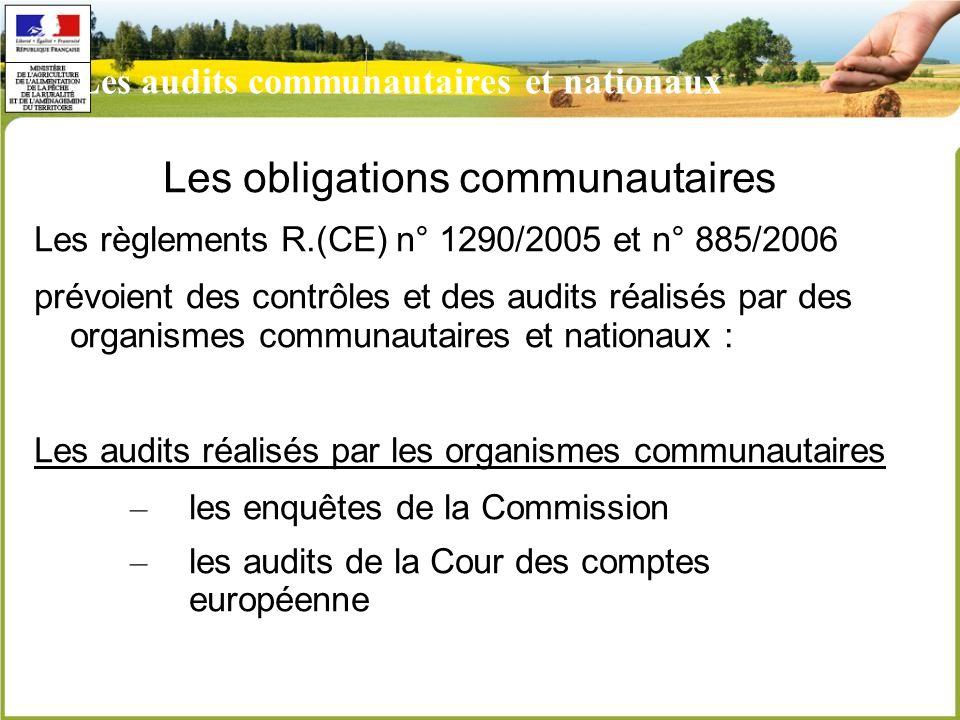 Les audits communautaires et nationaux Les obligations communautaires Les règlements R.(CE) n° 1290/2005 et n° 885/2006 prévoient des contrôles et des