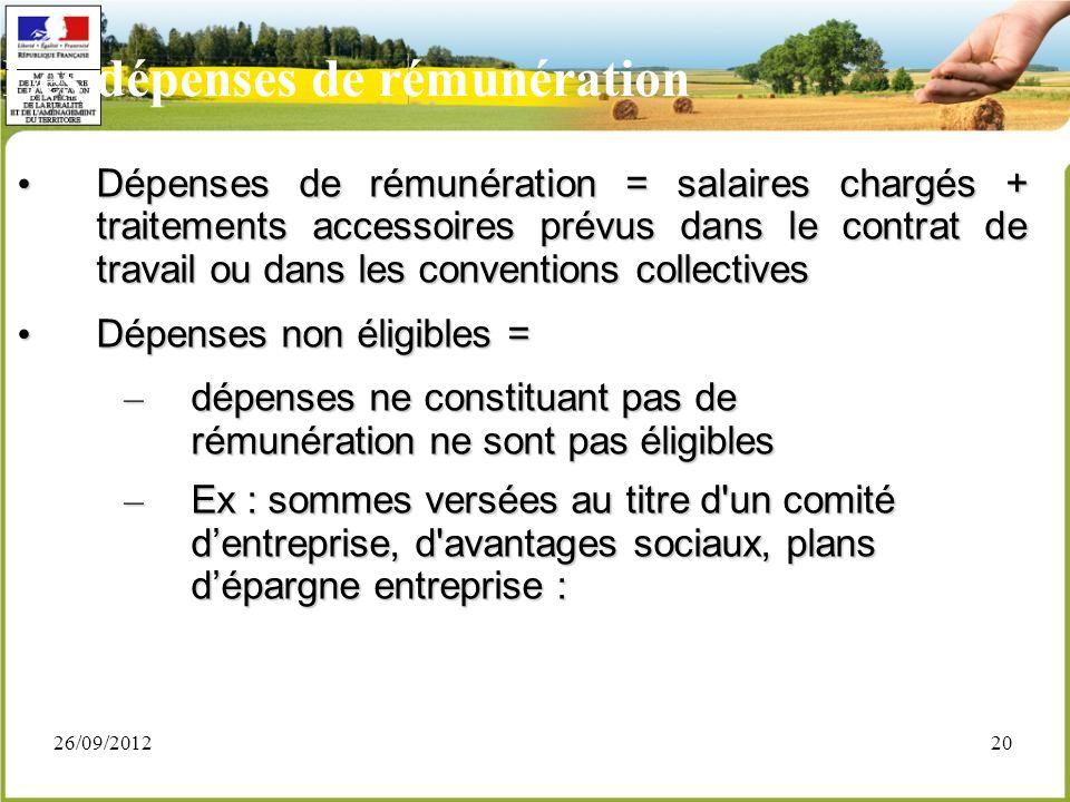 26/09/201220 Les dépenses de rémunération Dépenses de rémunération = salaires chargés + traitements accessoires prévus dans le contrat de travail ou d