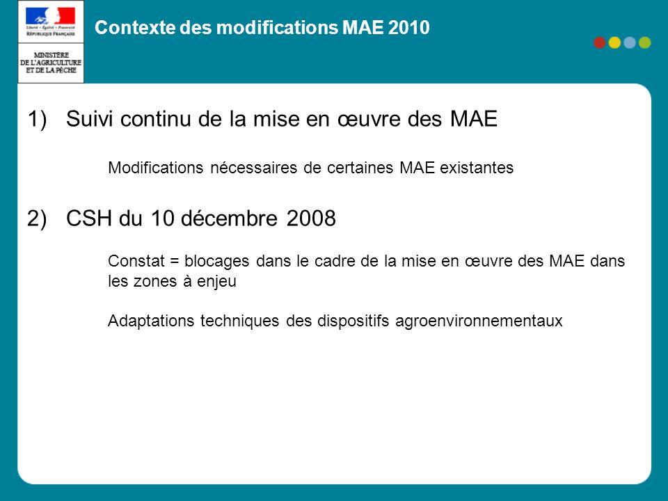 1)Suivi continu de la mise en œuvre des MAE Modifications nécessaires de certaines MAE existantes 2)CSH du 10 décembre 2008 Constat = blocages dans le cadre de la mise en œuvre des MAE dans les zones à enjeu Adaptations techniques des dispositifs agroenvironnementaux Contexte des modifications MAE 2010
