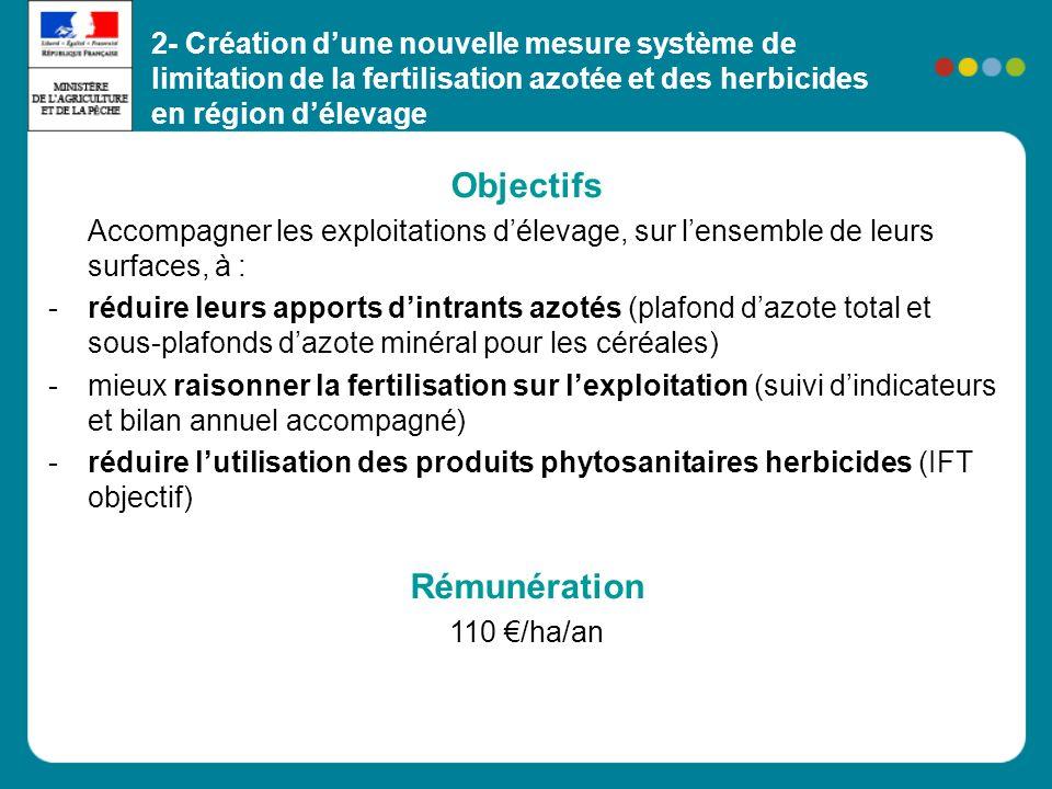 Objectifs Accompagner les exploitations délevage, sur lensemble de leurs surfaces, à : -réduire leurs apports dintrants azotés (plafond dazote total et sous-plafonds dazote minéral pour les céréales) -mieux raisonner la fertilisation sur lexploitation (suivi dindicateurs et bilan annuel accompagné) -réduire lutilisation des produits phytosanitaires herbicides (IFT objectif) Rémunération 110 /ha/an 2- Création dune nouvelle mesure système de limitation de la fertilisation azotée et des herbicides en région délevage