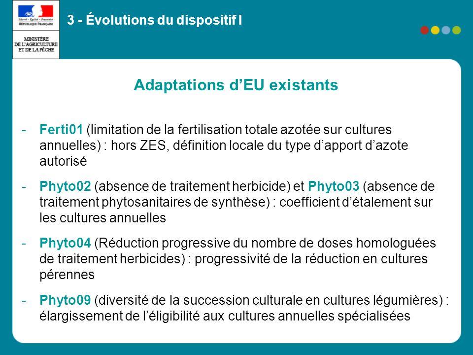 Adaptations dEU existants -Ferti01 (limitation de la fertilisation totale azotée sur cultures annuelles) : hors ZES, définition locale du type dapport