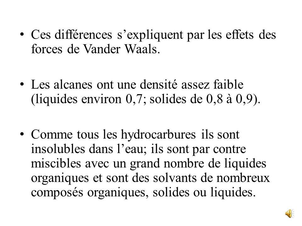 Mais à masse moléculaire égale, la température débullition est dautant plus basse que la molécule est plus ramifiée. Ainsi, celles des trois alcanes i