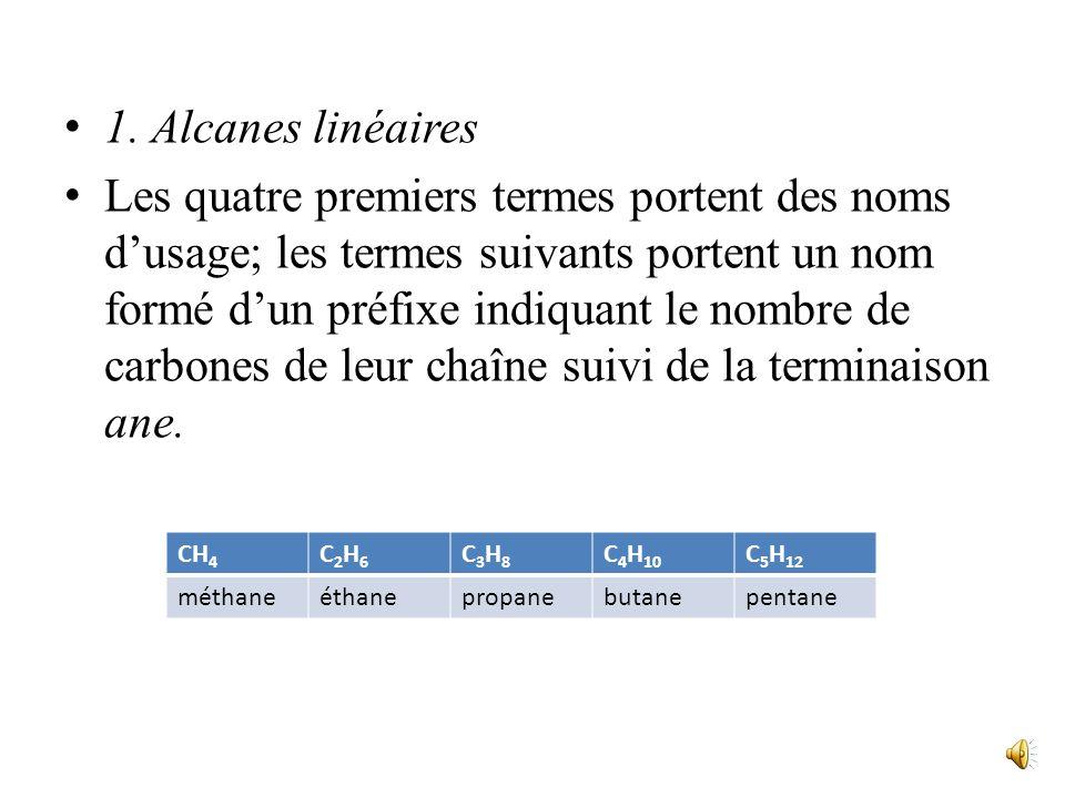 Les Alcanes Ce sont les chaînes saturées acycliques. I. Nomenclature -les hydrocarbures acycliques saturés de formule générale C n H 2n+2 se nomment A