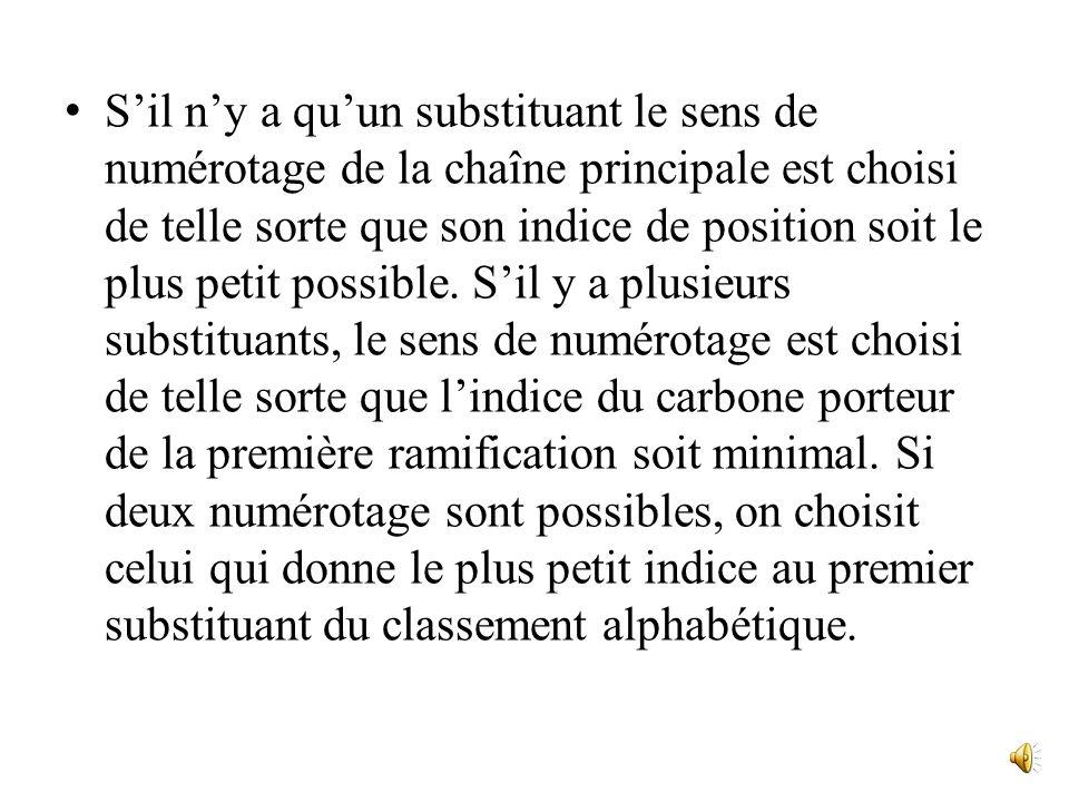 Sil ny a quun substituant le sens de numérotage de la chaîne principale est choisi de telle sorte que son indice de position soit le plus petit possible.