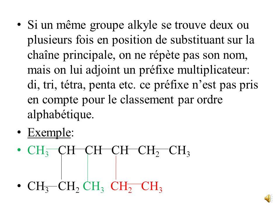 Exemples: 3 4 5 6 H 3 C CH CH 2 CH 2 CH 3 CH 2 CH 3 3-méthylhexane 2 1 1 2 3 4 5 6 7 CH 3 CH 2 CH CH CH 2 CH 2 CH 3 CH 3 CH 2 CH 3 4-éthyl-3-méthylhep