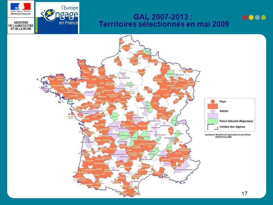 17 GAL 2007-2013 : Territoires sélectionnés en mai 2009