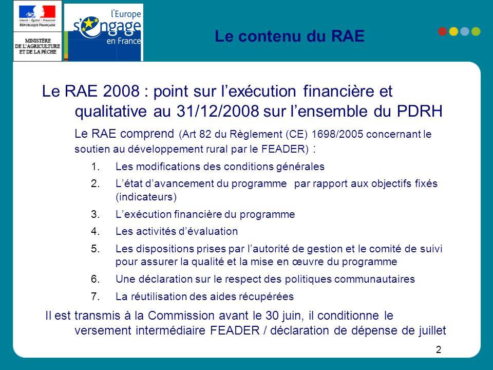 2 Le contenu du RAE Le RAE 2008 : point sur lexécution financière et qualitative au 31/12/2008 sur lensemble du PDRH Le RAE comprend (Art 82 du Règlem