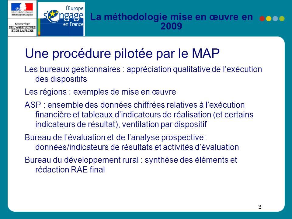 3 La méthodologie mise en œuvre en 2009 Une procédure pilotée par le MAP Les bureaux gestionnaires : appréciation qualitative de lexécution des dispos