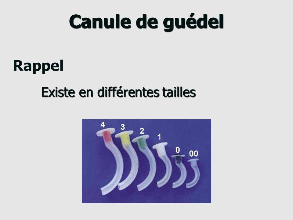 Canule de guédel Évite la chute de la langue dun patient en décubitus dorsal But