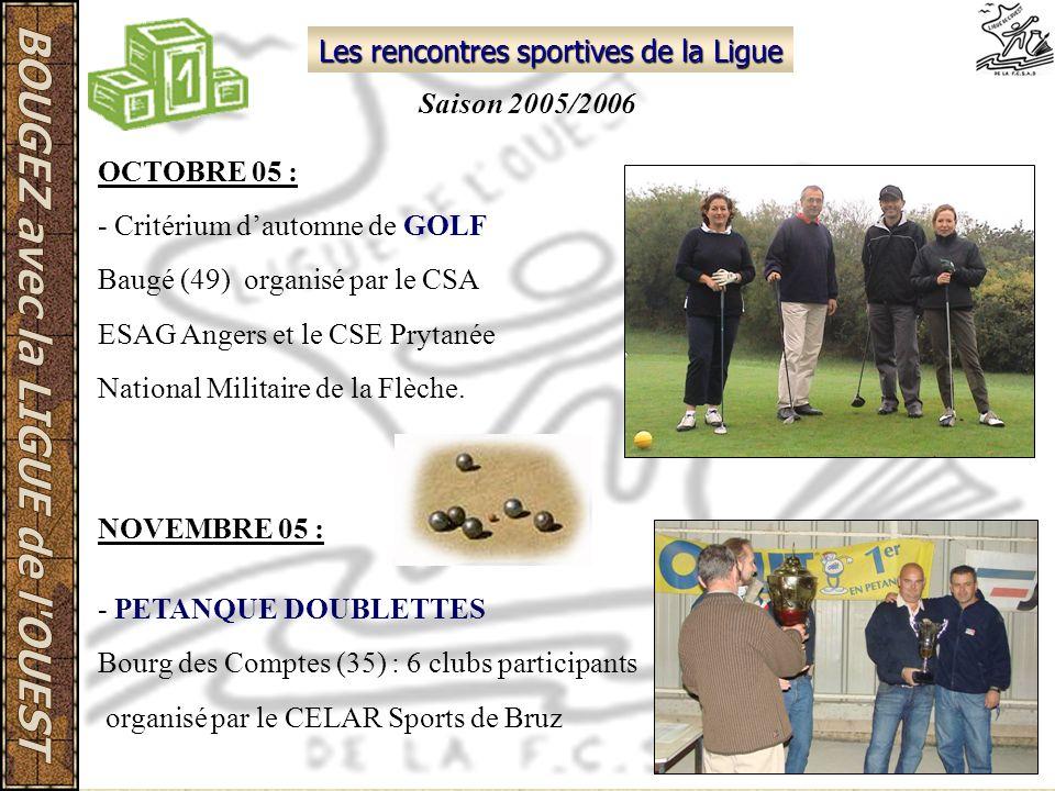 Les rencontres sportives de la Ligue NOVEMBRE 05 : - PETANQUE DOUBLETTES Bourg des Comptes (35) : 6 clubs participants organisé par le CELAR Sports de