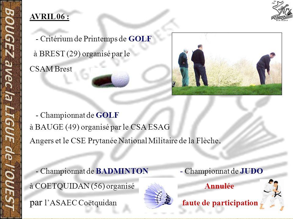 AVRIL 06 : - Critérium de Printemps de GOLF à BREST (29) organisé par le CSAM Brest - Championnat de GOLF à BAUGE (49) organisé par le CSA ESAG Angers