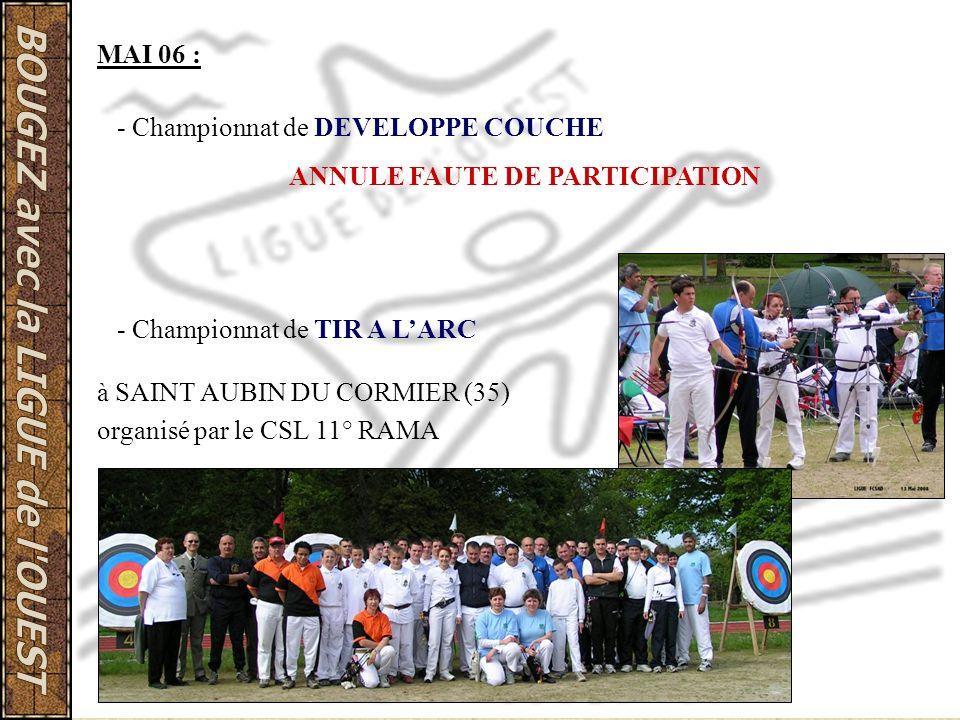 MAI 06 : - Championnat de DEVELOPPE COUCHE ANNULE FAUTE DE PARTICIPATION - Championnat de TIR A LARC à SAINT AUBIN DU CORMIER (35) organisé par le CSL