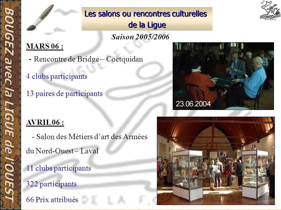 Les salons ou rencontres culturelles de la Ligue MARS 06 : - Rencontre de Bridge – Coëtquidan 4 clubs participants 13 paires de participants AVRIL 06