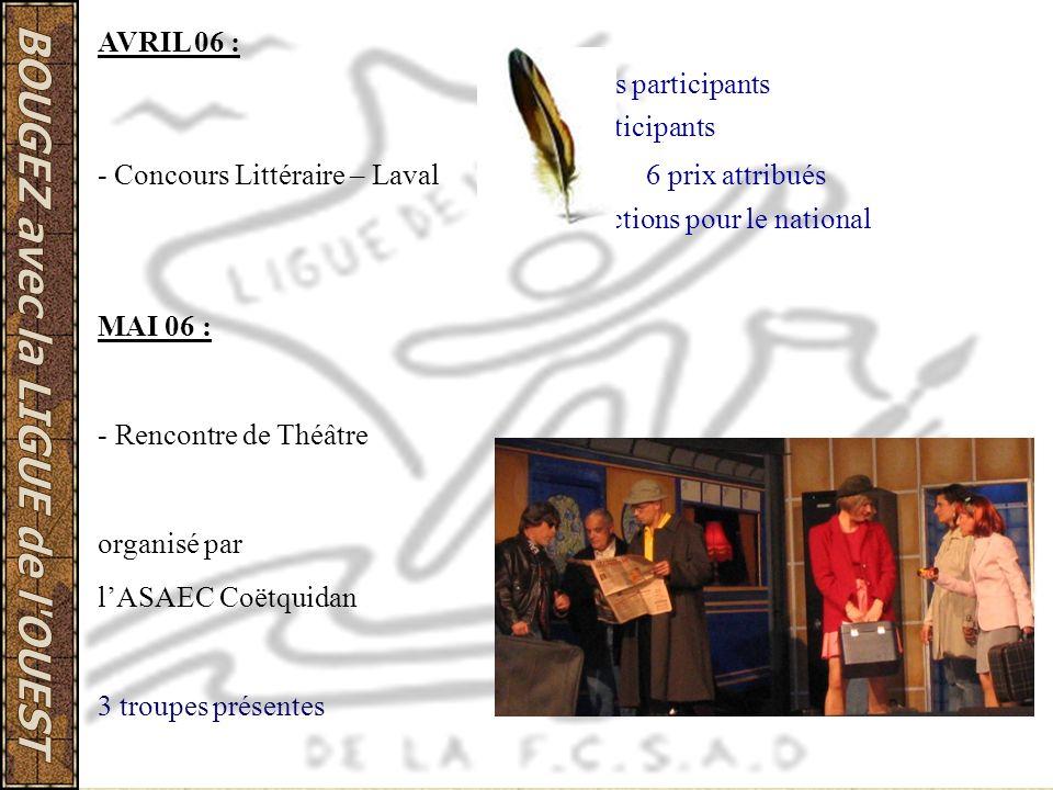 AVRIL 06 : 5 clubs participants 11 participants - Concours Littéraire – Laval 6 prix attribués 4 sélections pour le national MAI 06 : - Rencontre de T