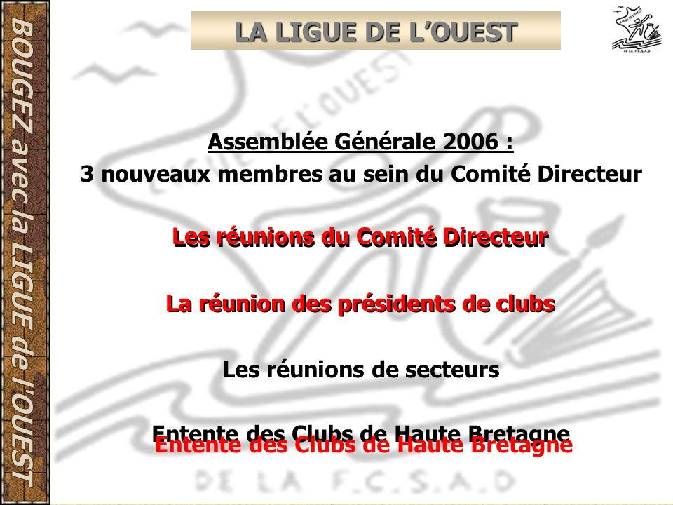 LA LIGUE DE LOUEST Assemblée Générale 2006 : 3 nouveaux membres au sein du Comité Directeur Les réunions du Comité Directeur La réunion des présidents