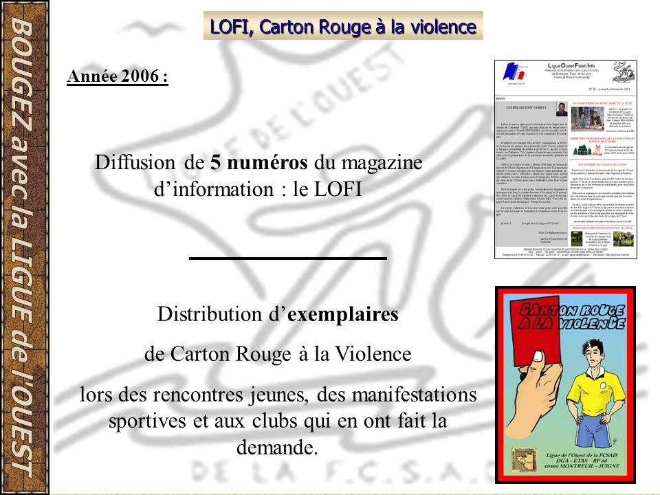 LOFI, Carton Rouge à la violence Diffusion de 5 numéros du magazine dinformation : le LOFI Distribution dexemplaires de Carton Rouge à la Violence lor