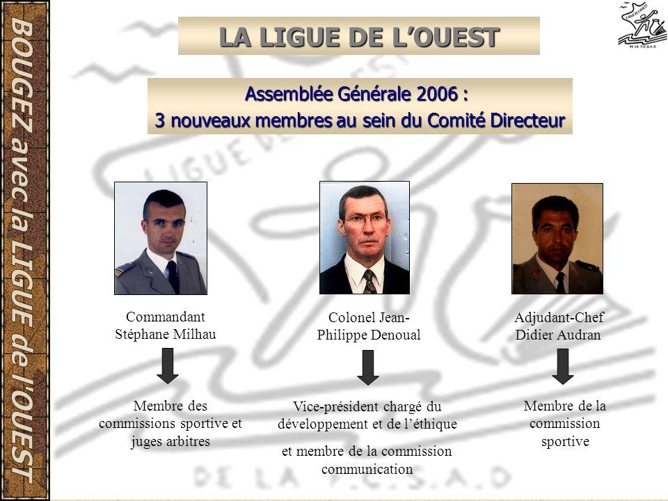 LA LIGUE DE LOUEST Assemblée Générale 2006 : 3 nouveaux membres au sein du Comité Directeur Commandant Stéphane Milhau Colonel Jean- Philippe Denoual