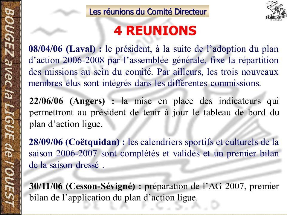 Les réunions du Comité Directeur 4 REUNIONS 08/04/06 (Laval) : le président, à la suite de ladoption du plan daction 2006-2008 par lassemblée générale