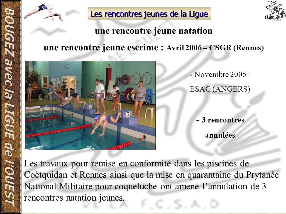 Les rencontres jeunes de la Ligue une rencontre jeune natation une rencontre jeune escrime : Avril 2006 – CSGR (Rennes) - Novembre 2005 : ESAG (ANGERS