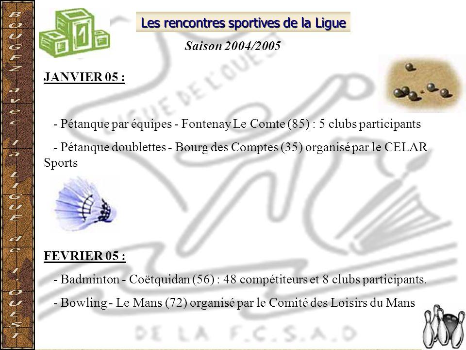 Les rencontres sportives de la Ligue JANVIER 05 : - Pétanque par équipes - Fontenay Le Comte (85) : 5 clubs participants - Pétanque doublettes - Bourg