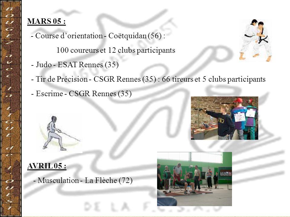 MARS 05 : - Course dorientation - Coëtquidan (56) : 100 coureurs et 12 clubs participants - Judo - ESAT Rennes (35) - Tir de Précision - CSGR Rennes (