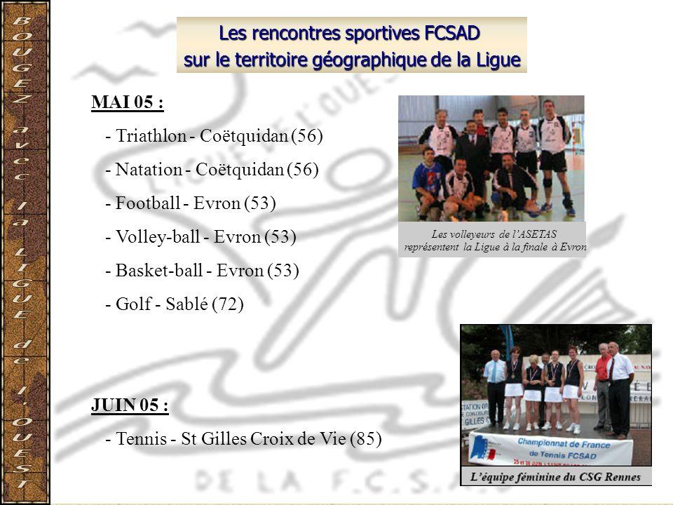 Les rencontres sportives FCSAD sur le territoire géographique de la Ligue MAI 05 : - Triathlon - Coëtquidan (56) - Natation - Coëtquidan (56) - Footba