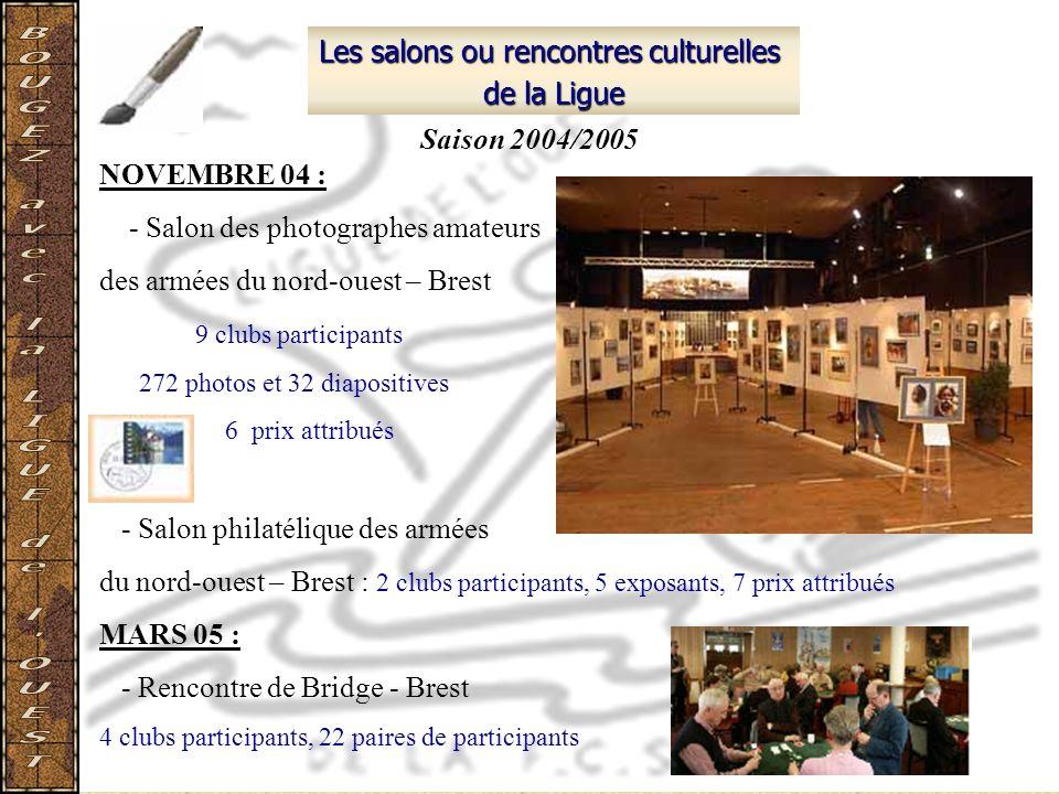 Les salons ou rencontres culturelles de la Ligue NOVEMBRE 04 : - Salon des photographes amateurs des armées du nord-ouest – Brest 9 clubs participants