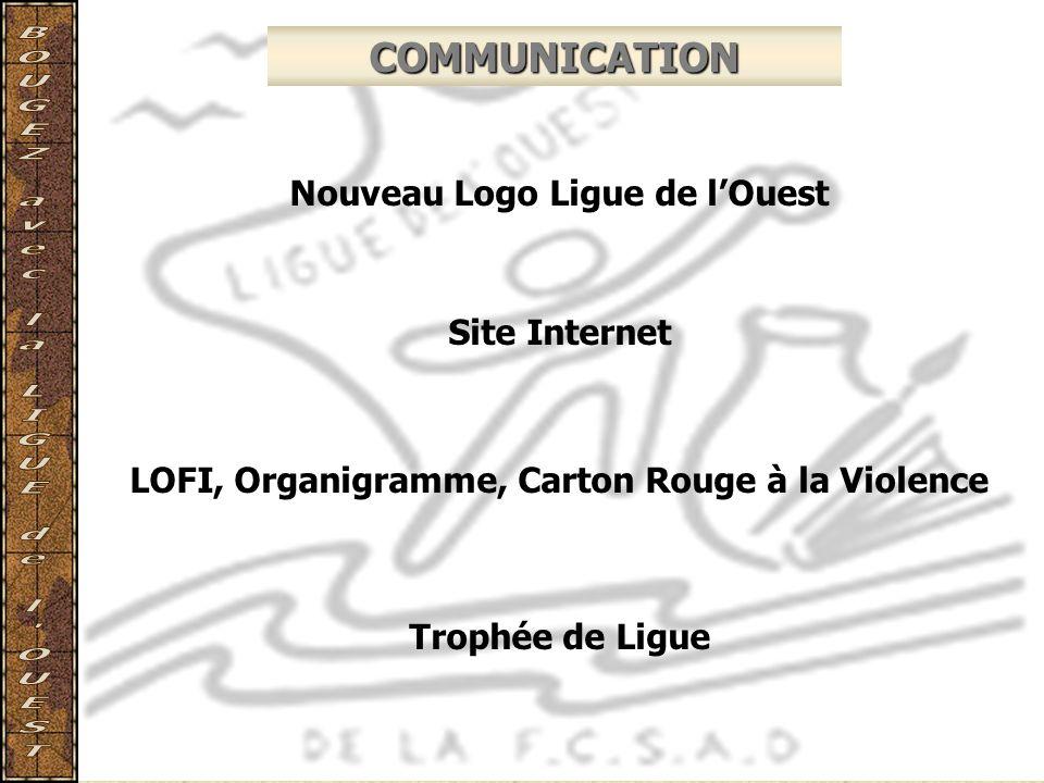 COMMUNICATION Nouveau Logo Ligue de lOuest Site Internet LOFI, Organigramme, Carton Rouge à la Violence Trophée de Ligue