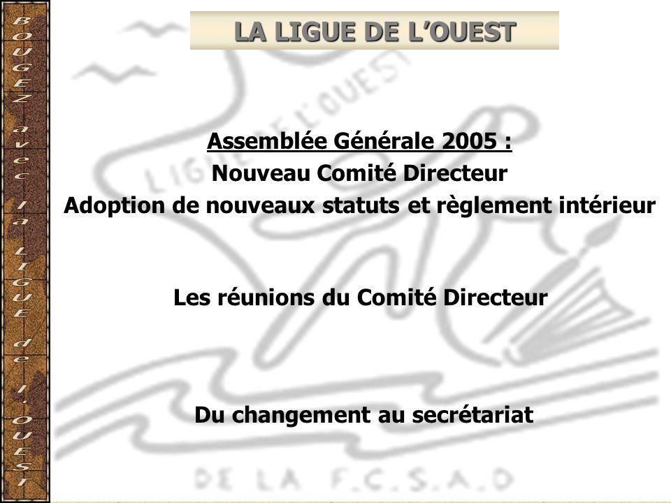 LA LIGUE DE LOUEST Assemblée Générale 2005 : Nouveau Comité Directeur Adoption de nouveaux statuts et règlement intérieur Les réunions du Comité Direc