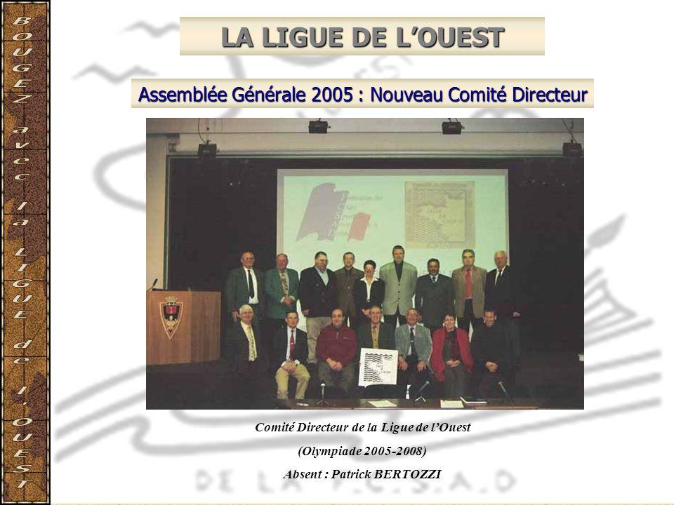 LA LIGUE DE LOUEST Assemblée Générale 2005 : Nouveau Comité Directeur Comité Directeur de la Ligue de lOuest (Olympiade 2005-2008) Absent : Patrick BE