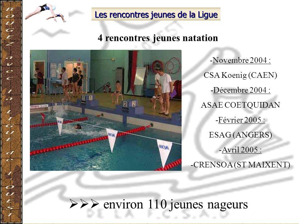 Les rencontres jeunes de la Ligue 4 rencontres jeunes natation -Novembre 2004 : CSA Koenig (CAEN) -Décembre 2004 : ASAE COETQUIDAN -Février 2005 : ESA