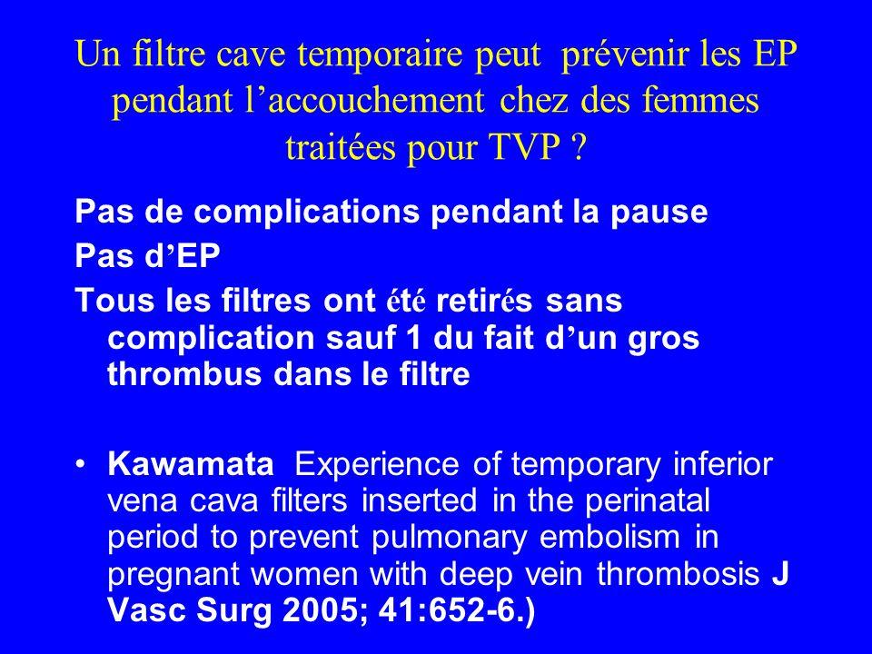 Un filtre cave temporaire peut prévenir les EP pendant laccouchement chez des femmes traitées pour TVP ? Pas de complications pendant la pause Pas d E