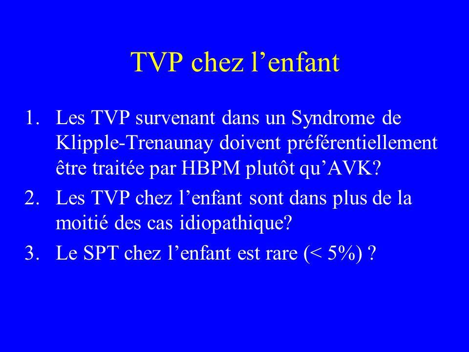 TVP chez lenfant 1.Les TVP survenant dans un Syndrome de Klipple-Trenaunay doivent préférentiellement être traitée par HBPM plutôt quAVK? 2.Les TVP ch