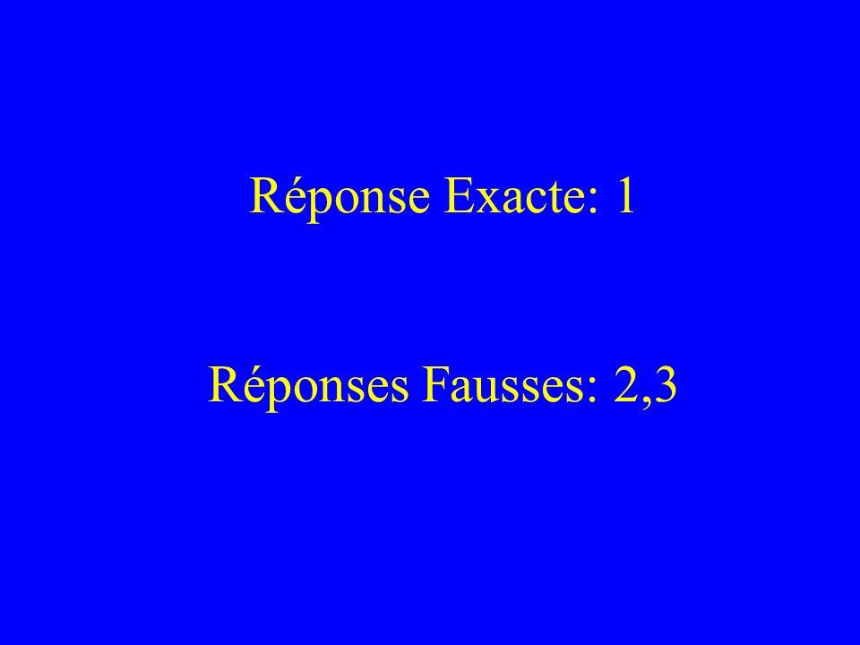 Réponse Exacte: 1 Réponses Fausses: 2,3